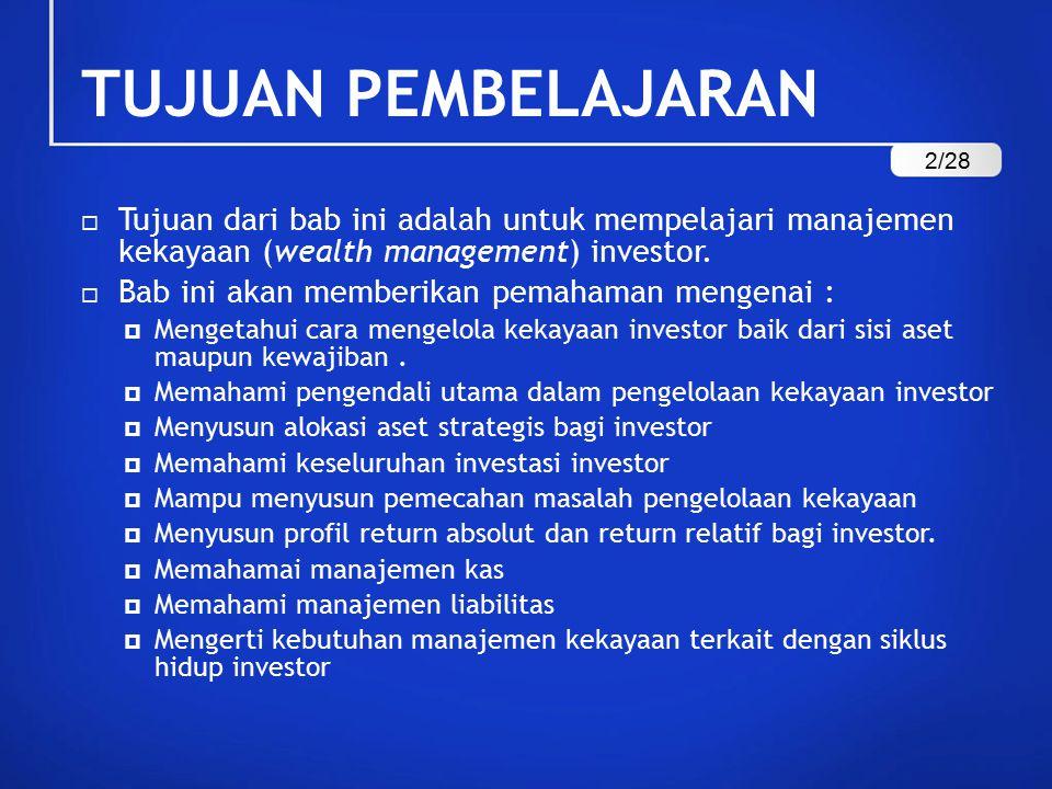 TUJUAN PEMBELAJARAN 2/28. Tujuan dari bab ini adalah untuk mempelajari manajemen kekayaan (wealth management) investor.