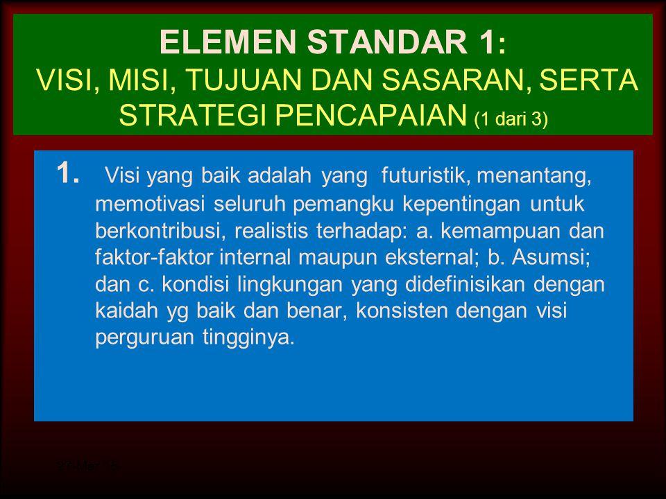 ELEMEN STANDAR 1: VISI, MISI, TUJUAN DAN SASARAN, SERTA STRATEGI PENCAPAIAN (1 dari 3)