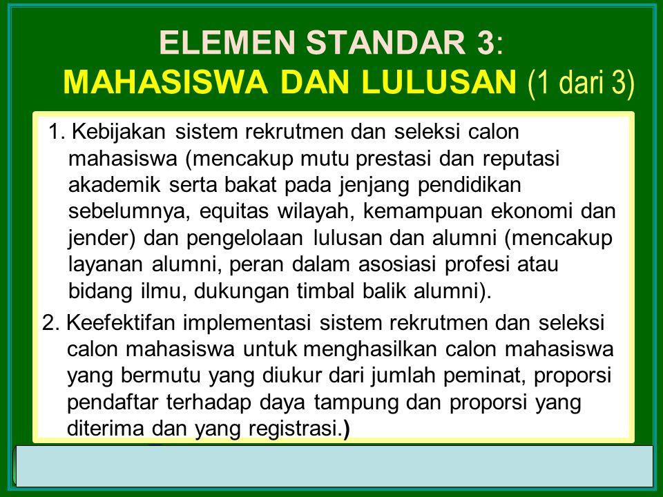 ELEMEN STANDAR 3: mahasiswa dan Lulusan (1 dari 3)