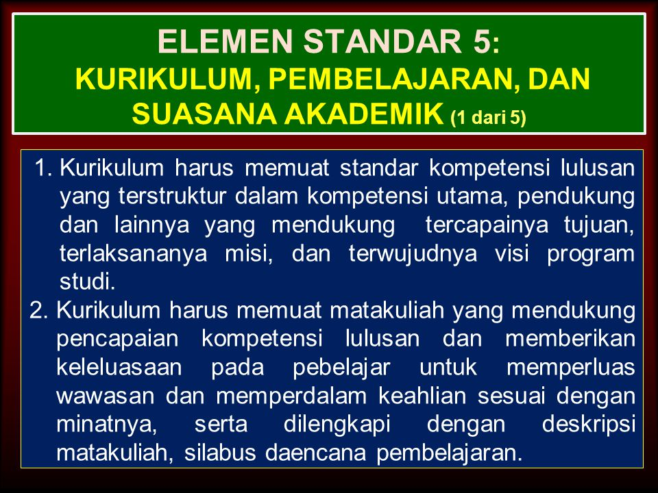 ELEMEN STANDAR 5: Kurikulum, Pembelajaran, dan Suasana Akademik (1 dari 5)