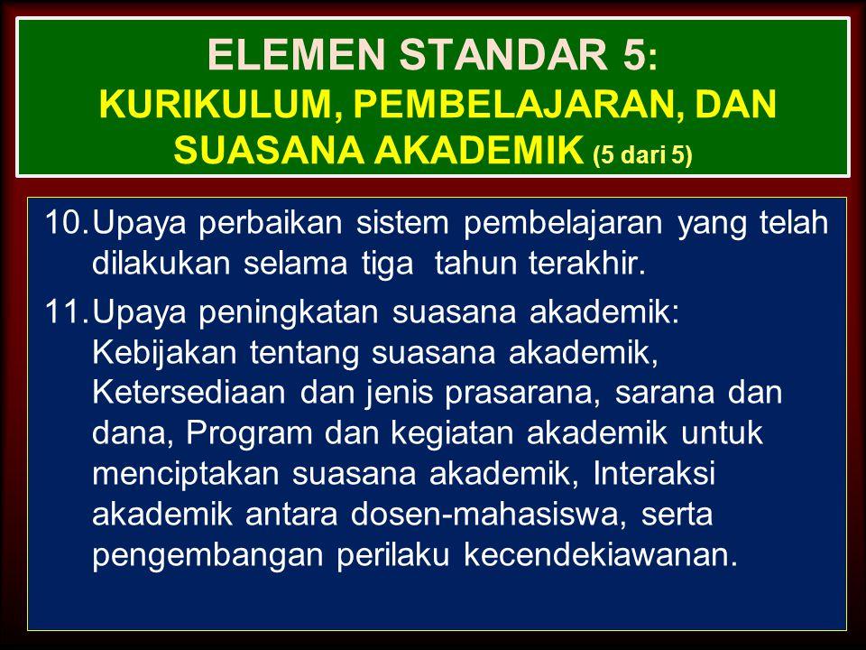 ELEMEN STANDAR 5: Kurikulum, Pembelajaran, dan Suasana Akademik (5 dari 5)