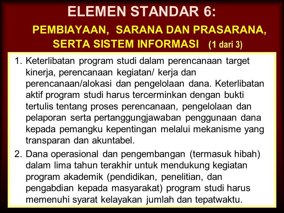 ELEMEN STANDAR 6: pembiayaan, sarana dan prasarana, serta sistem informasi (1 dari 3)