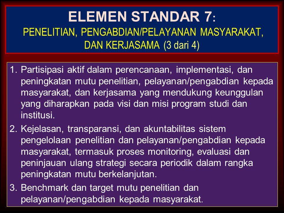 ELEMEN STANDAR 7: PENELITIAN, PENGABDIAN/PELAYANAN MASYARAKAT, DAN KERJASAMA (3 dari 4)