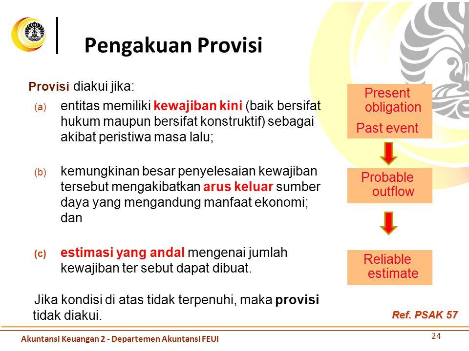 Pengakuan Provisi Provisi diakui jika: