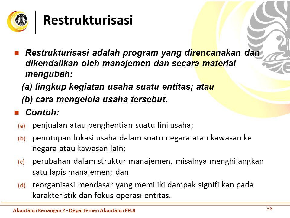 Restrukturisasi Restrukturisasi adalah program yang direncanakan dan dikendalikan oleh manajemen dan secara material mengubah: