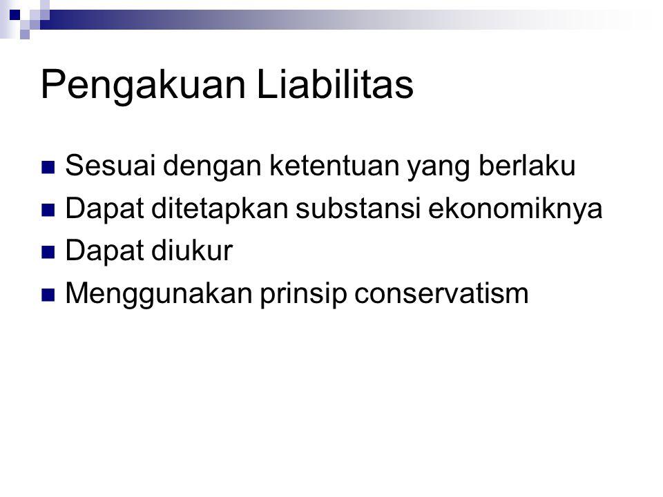 Pengakuan Liabilitas Sesuai dengan ketentuan yang berlaku