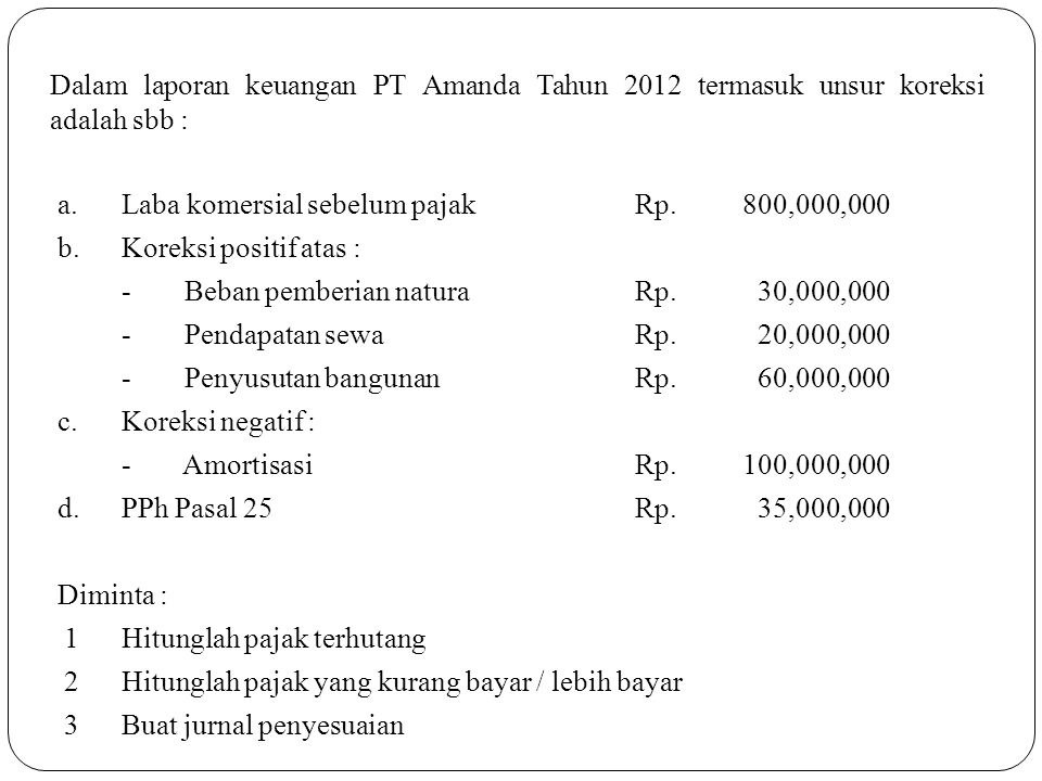 Dalam laporan keuangan PT Amanda Tahun 2012 termasuk unsur koreksi adalah sbb :