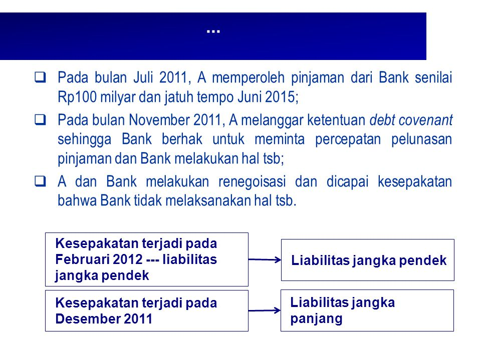 ... Pada bulan Juli 2011, A memperoleh pinjaman dari Bank senilai Rp100 milyar dan jatuh tempo Juni 2015;