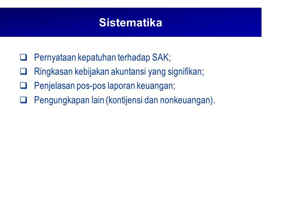 Sistematika Pernyataan kepatuhan terhadap SAK;