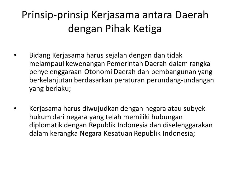 Prinsip-prinsip Kerjasama antara Daerah dengan Pihak Ketiga