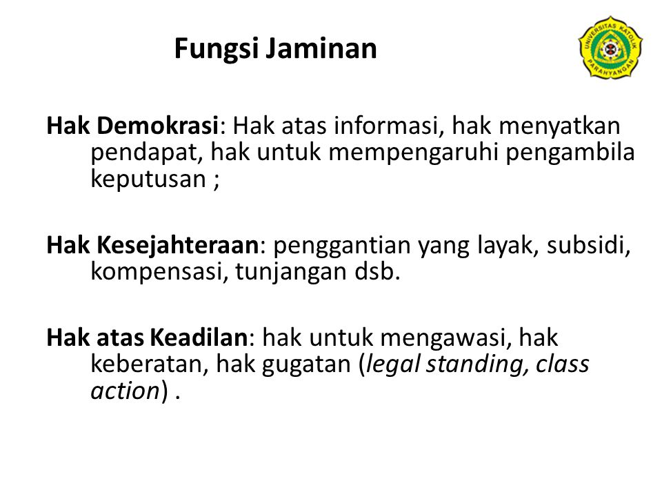 Fungsi Jaminan Hak Demokrasi: Hak atas informasi, hak menyatkan pendapat, hak untuk mempengaruhi pengambila keputusan ;