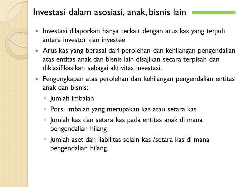 Investasi dalam asosiasi, anak, bisnis lain