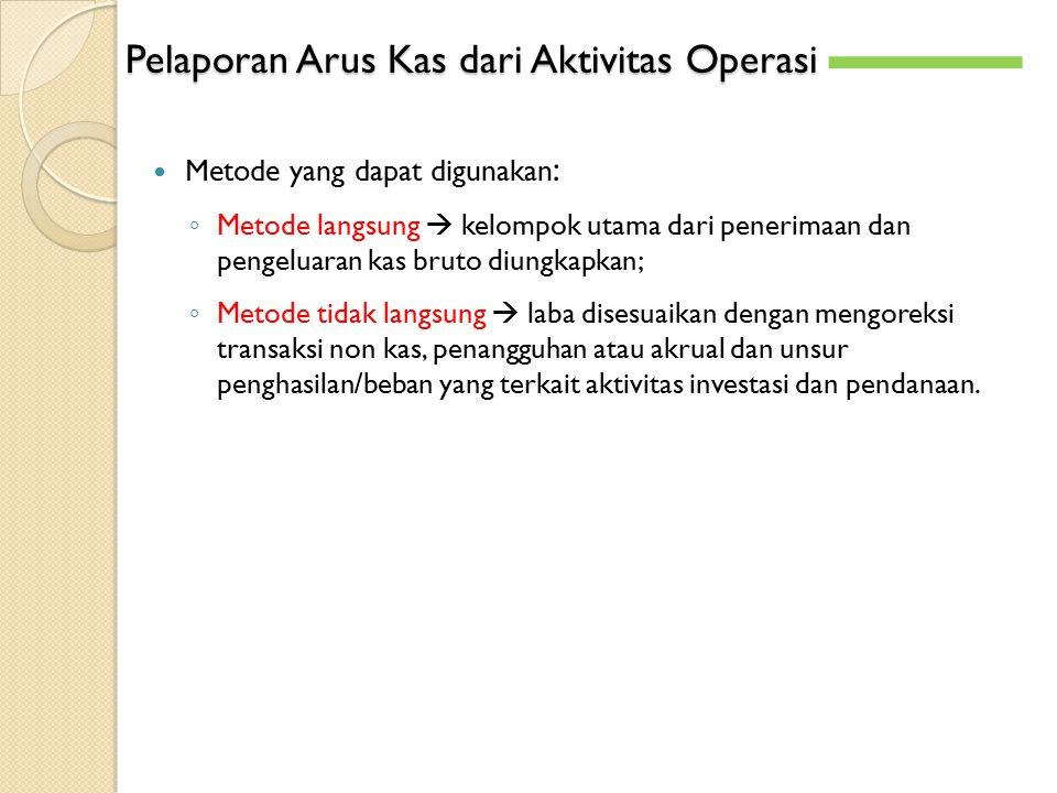 Pelaporan Arus Kas dari Aktivitas Operasi