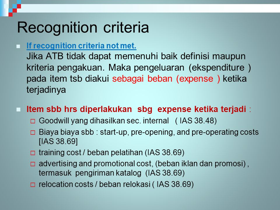 Recognition criteria