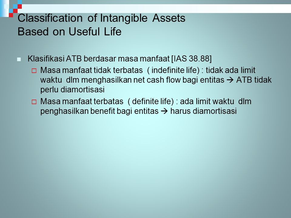 Classification of Intangible Assets Based on Useful Life