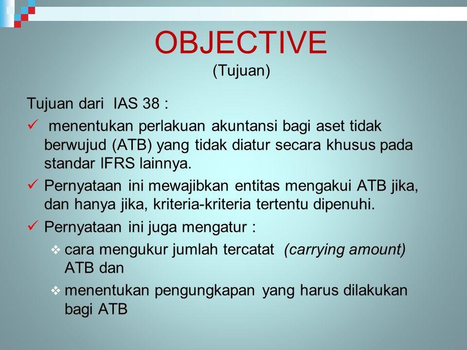 OBJECTIVE (Tujuan) Tujuan dari IAS 38 :