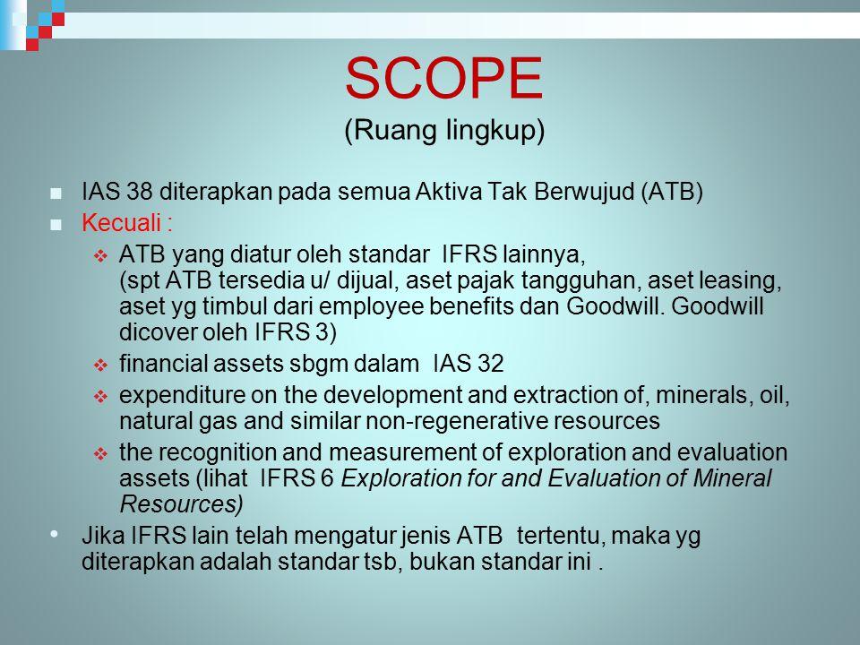 SCOPE (Ruang lingkup) IAS 38 diterapkan pada semua Aktiva Tak Berwujud (ATB) Kecuali :