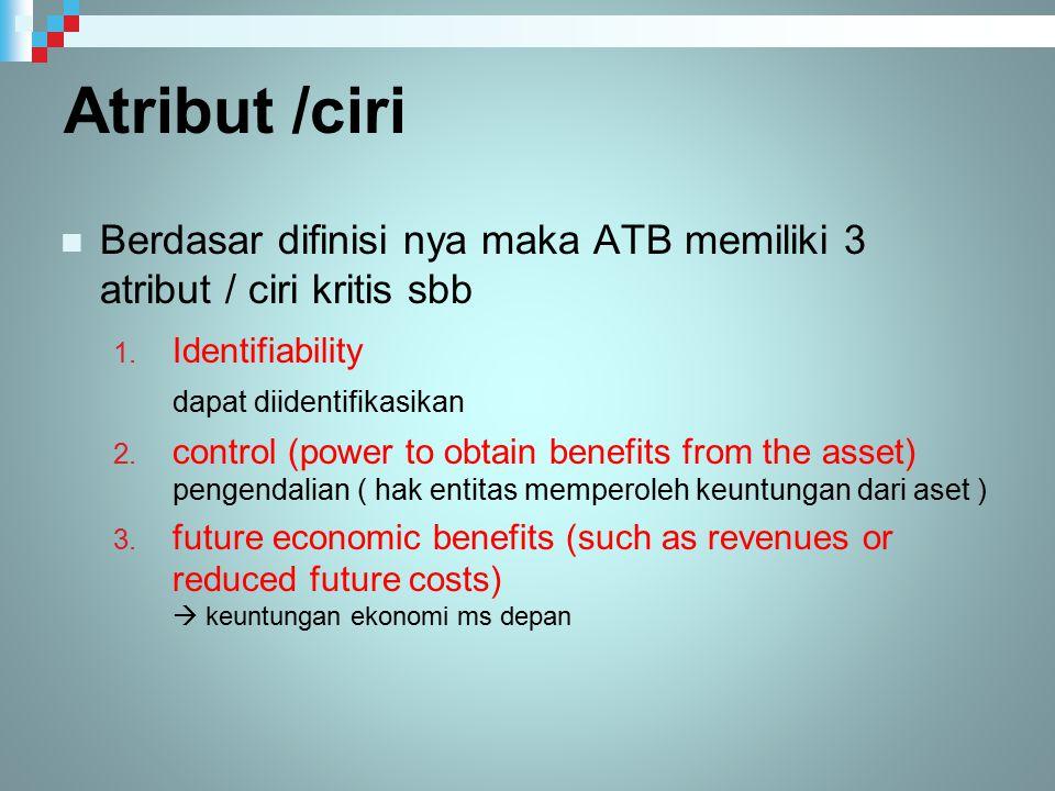 Atribut /ciri Berdasar difinisi nya maka ATB memiliki 3 atribut / ciri kritis sbb.
