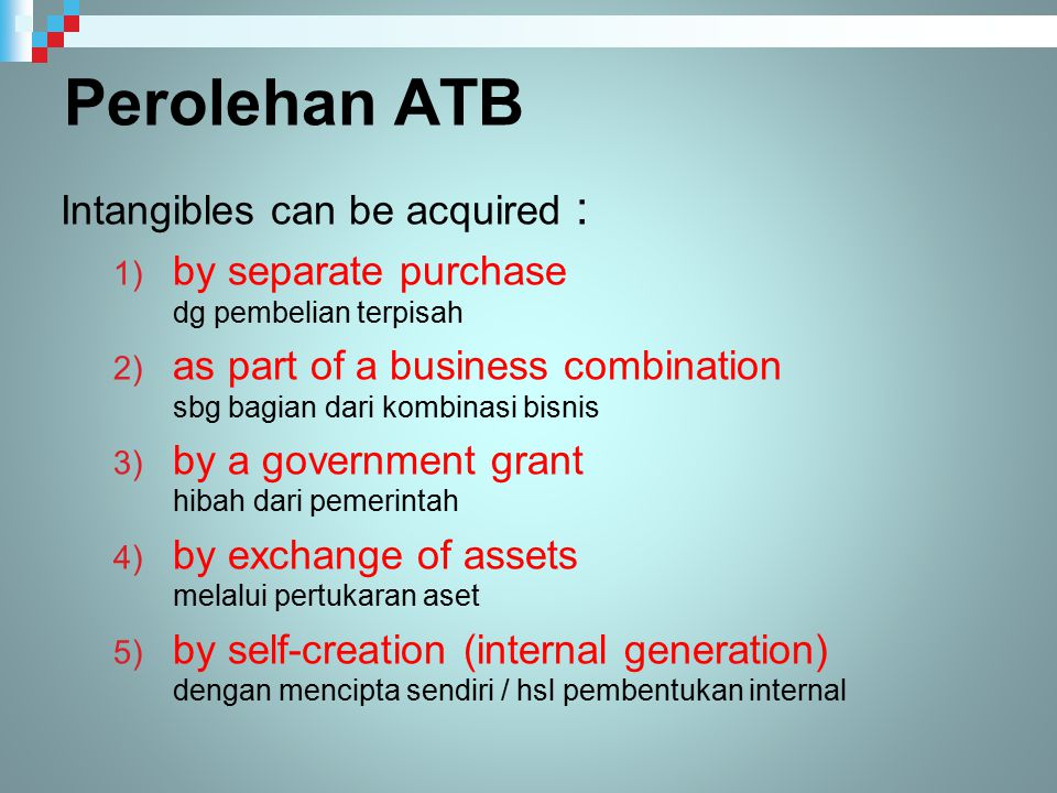 Perolehan ATB Intangibles can be acquired :