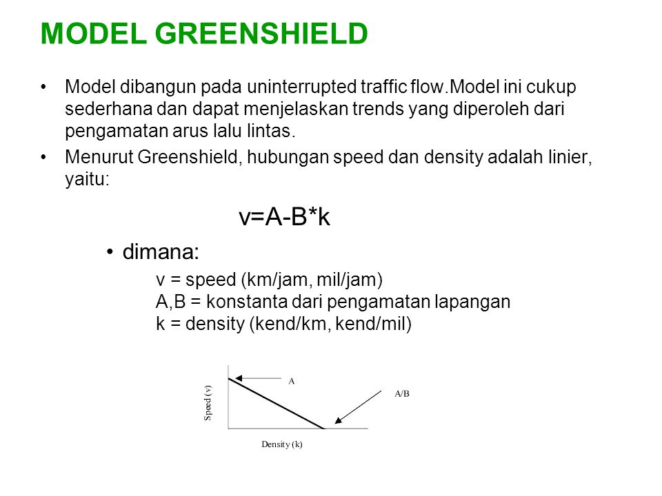 MODEL GREENSHIELD v=A-B*k dimana: