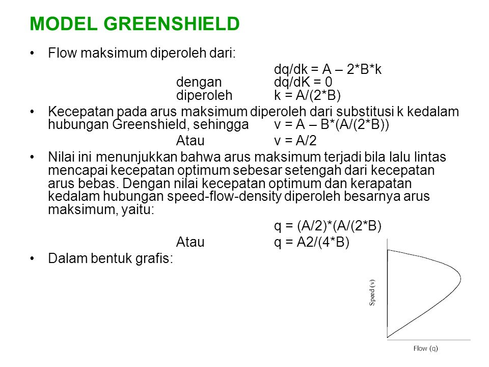 MODEL GREENSHIELD Flow maksimum diperoleh dari: