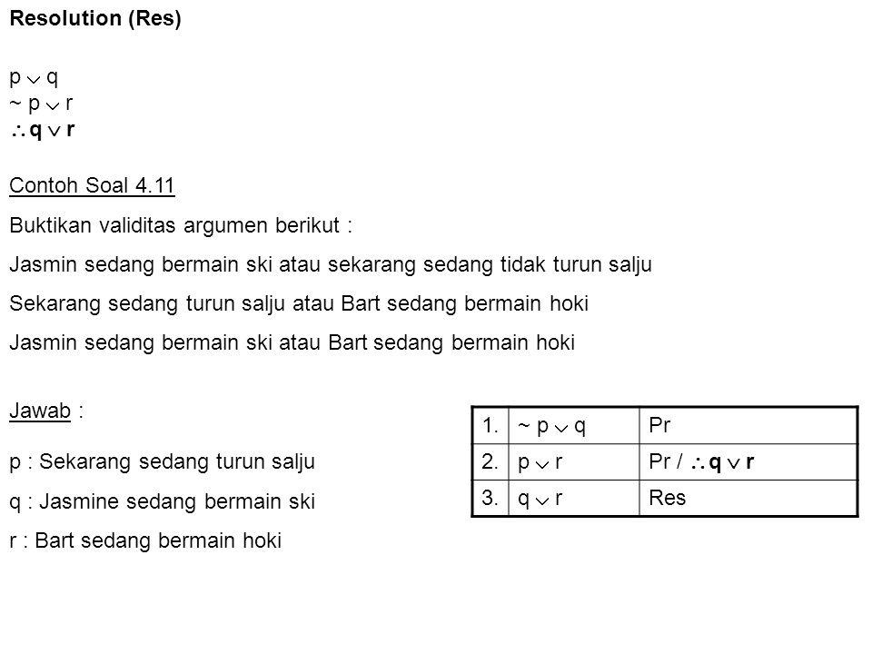 Resolution (Res) p  q. ~ p  r. q  r. Contoh Soal 4.11. Buktikan validitas argumen berikut :