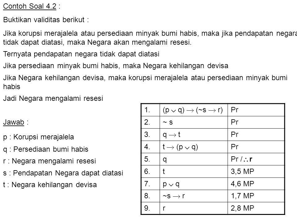 Contoh Soal 4.2 : Buktikan validitas berikut :