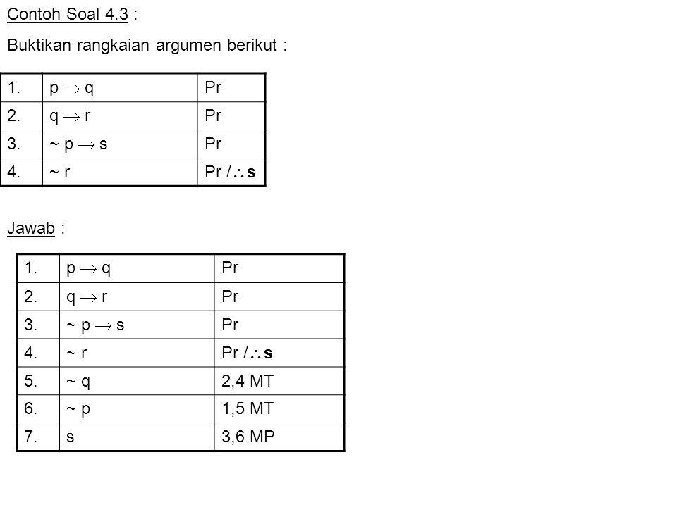 Contoh Soal 4.3 : Buktikan rangkaian argumen berikut : 1. p  q. Pr. 2. q  r. 3. ~ p  s. 4.