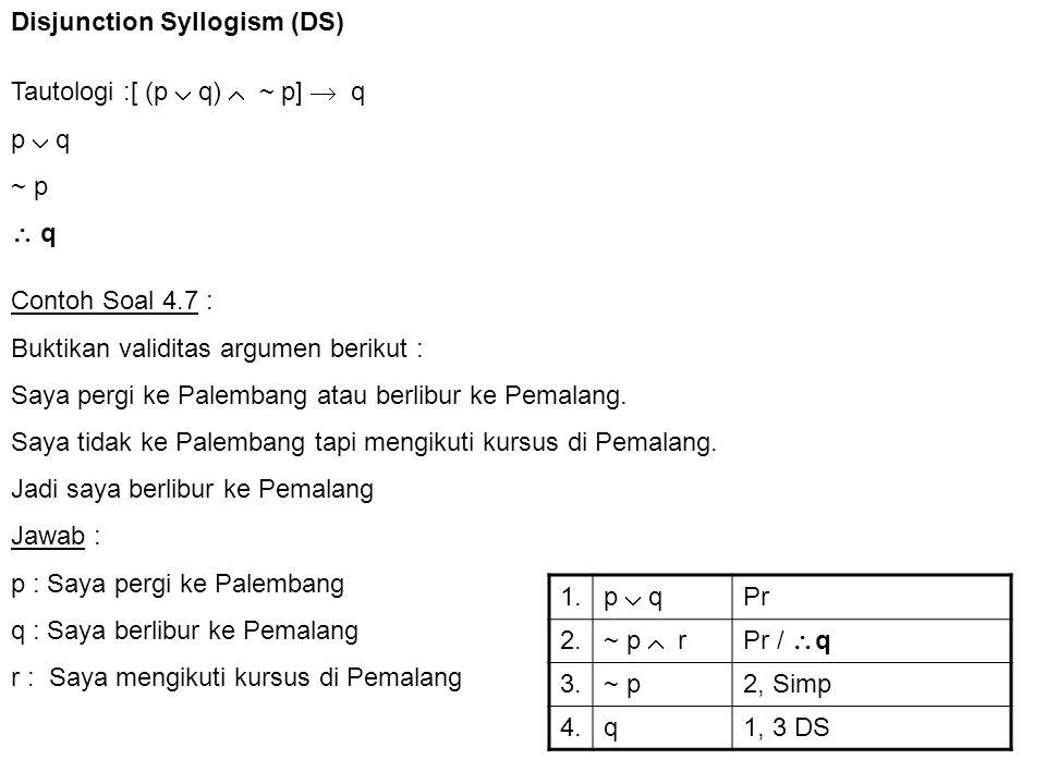 Disjunction Syllogism (DS)