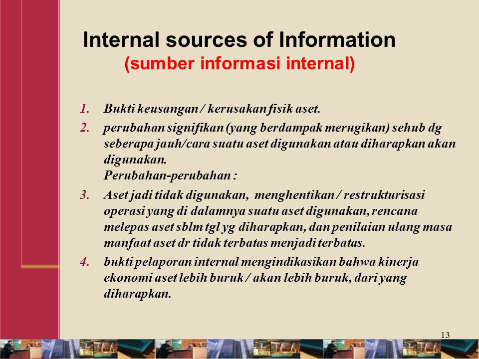 Internal sources of Information (sumber informasi internal)