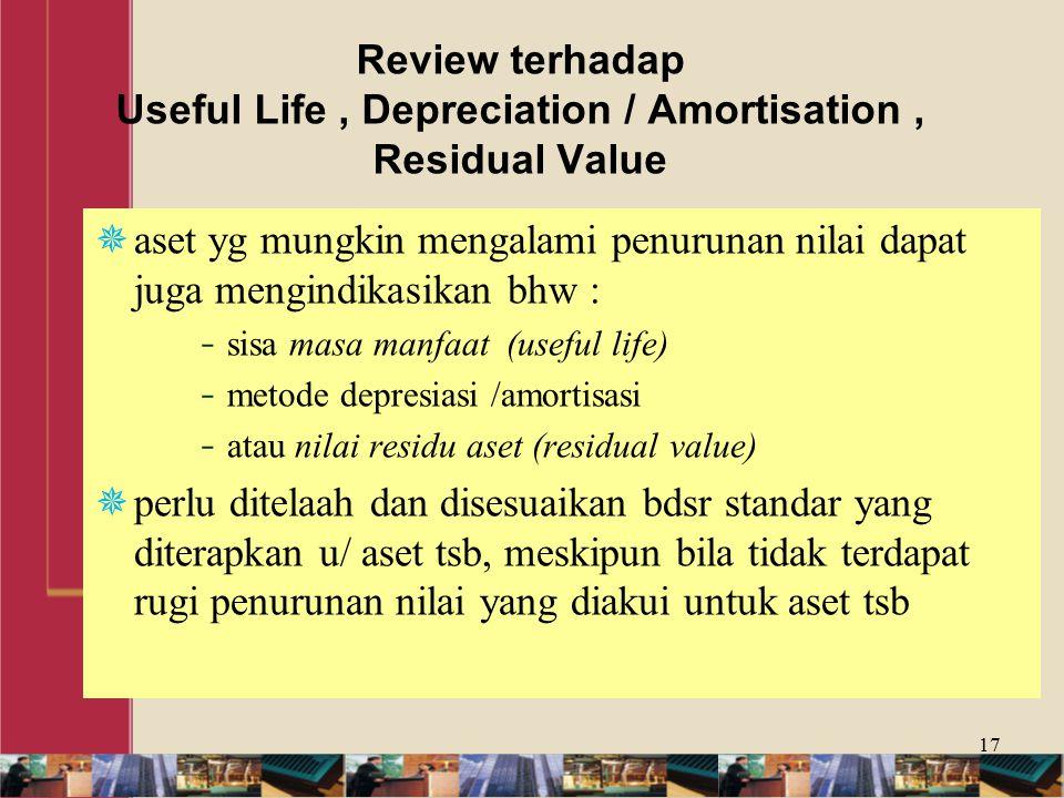 Review terhadap Useful Life , Depreciation / Amortisation , Residual Value