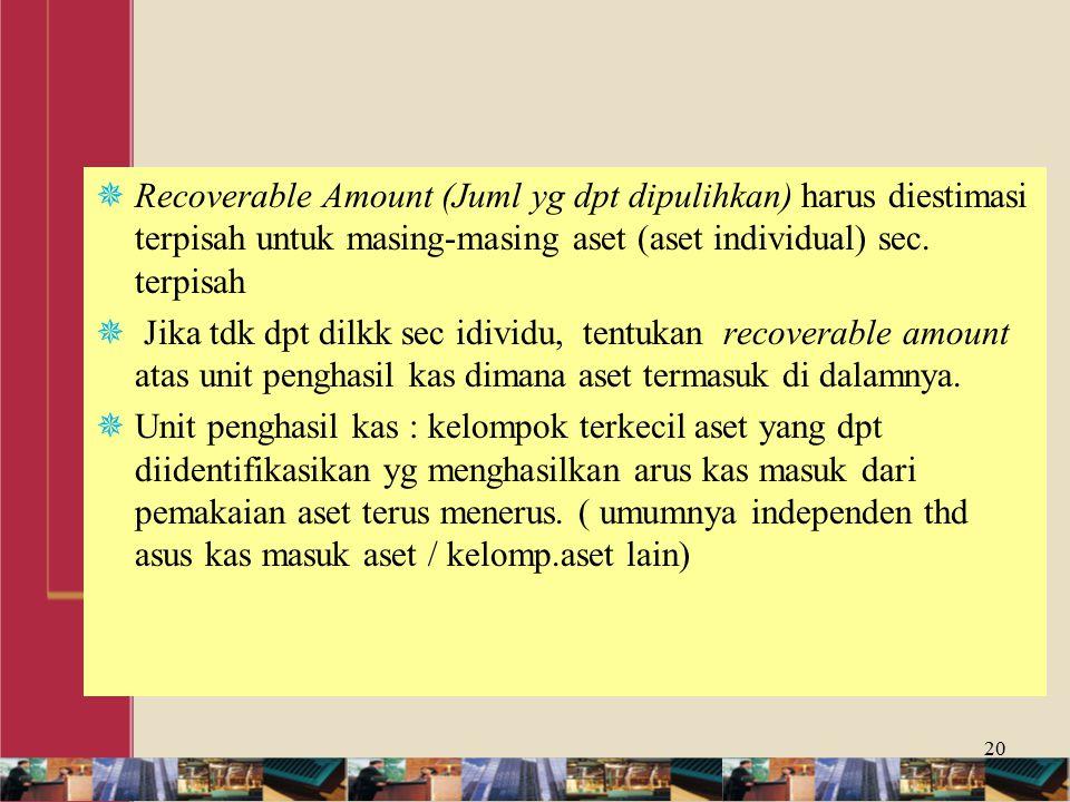 Recoverable Amount (Juml yg dpt dipulihkan) harus diestimasi terpisah untuk masing-masing aset (aset individual) sec. terpisah