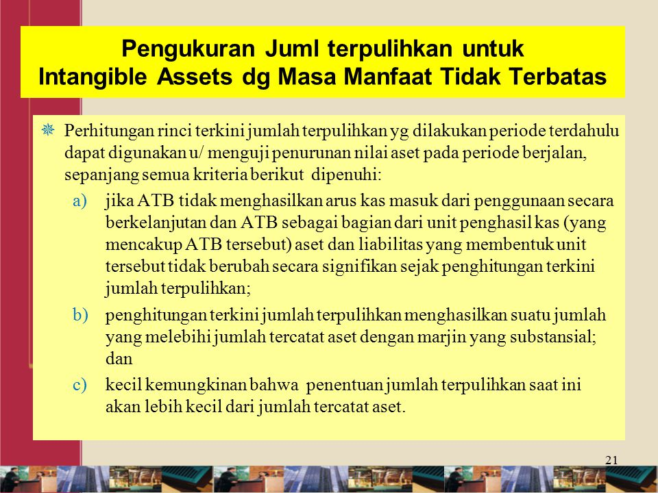 Pengukuran Juml terpulihkan untuk Intangible Assets dg Masa Manfaat Tidak Terbatas