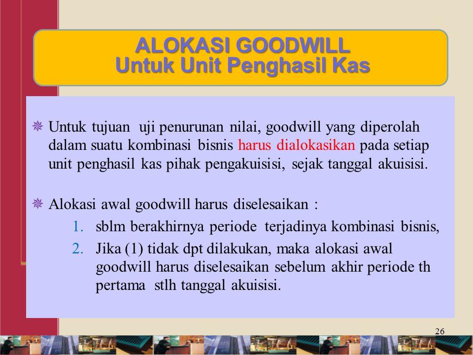 ALOKASI GOODWILL Untuk Unit Penghasil Kas
