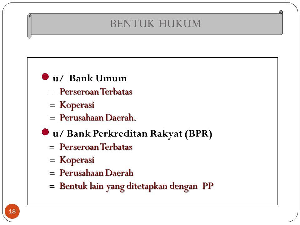 BENTUK HUKUM u/ Bank Umum Perseroan Terbatas Koperasi