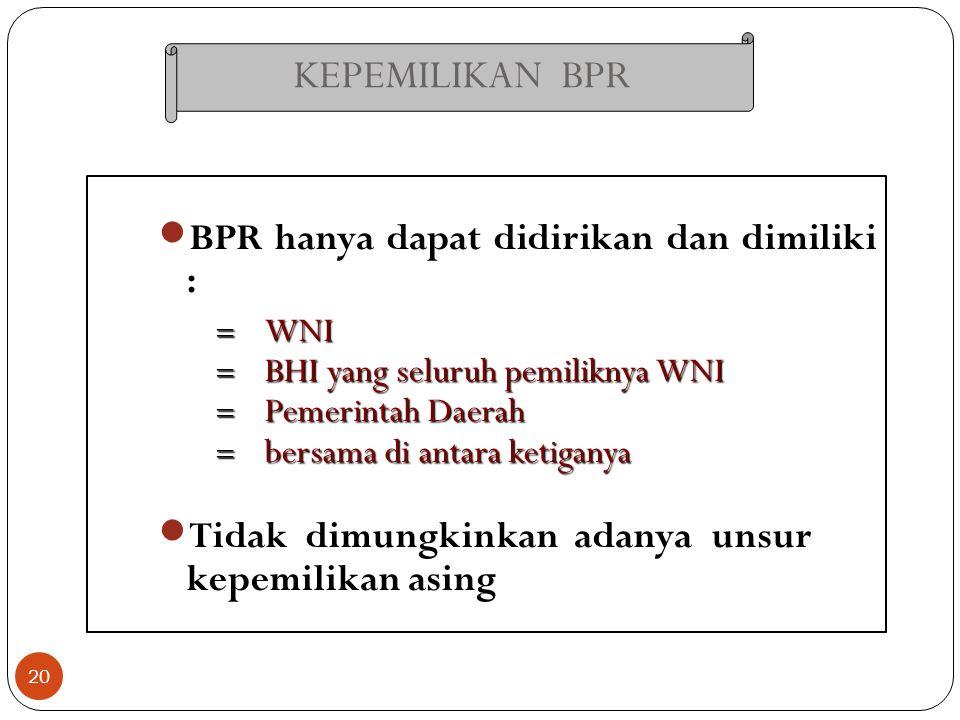 KEPEMILIKAN BPR BPR hanya dapat didirikan dan dimiliki :