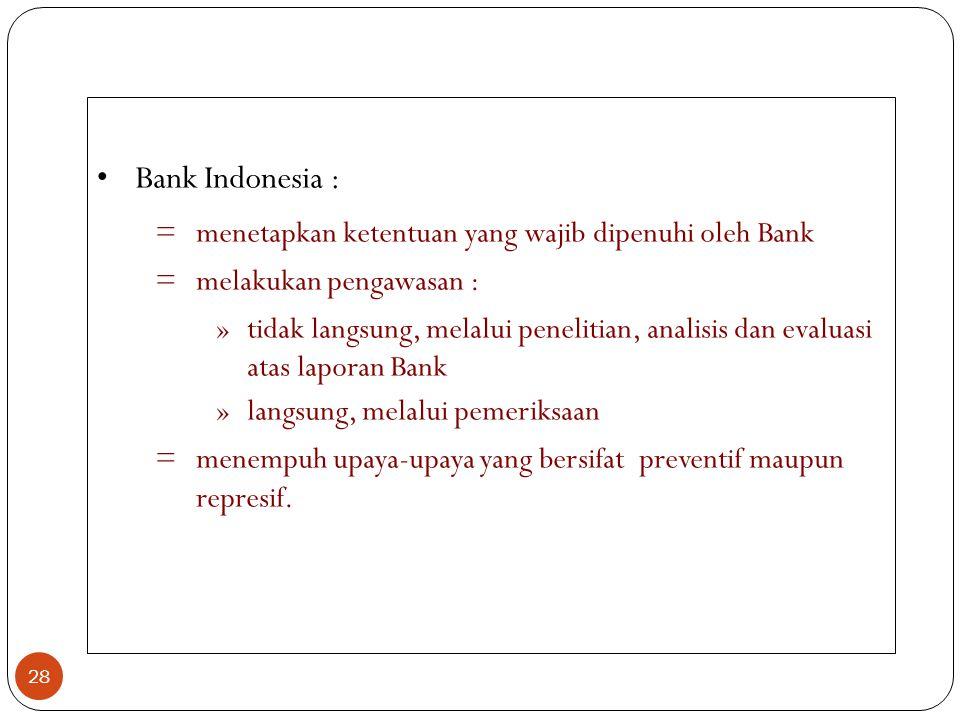Bank Indonesia : menetapkan ketentuan yang wajib dipenuhi oleh Bank