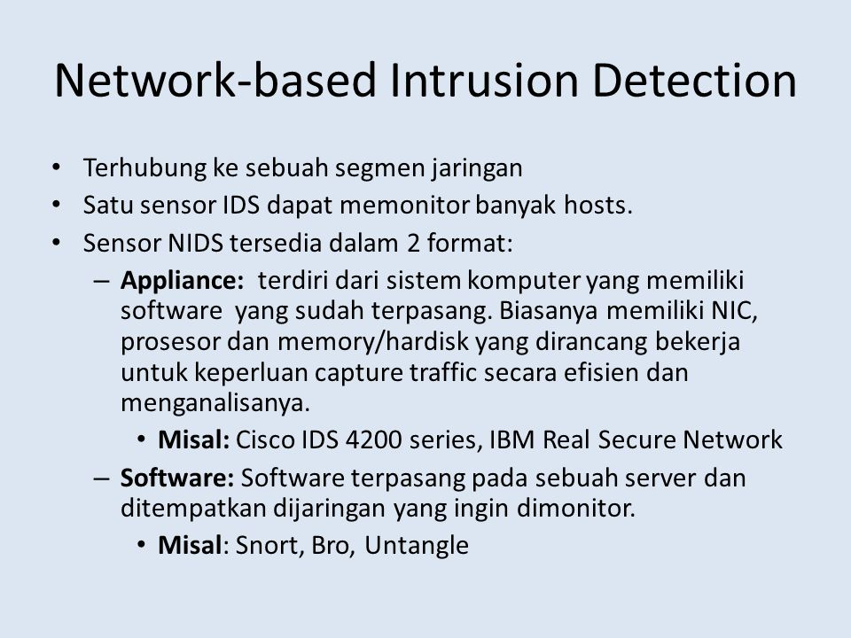 Network-based Intrusion Detection