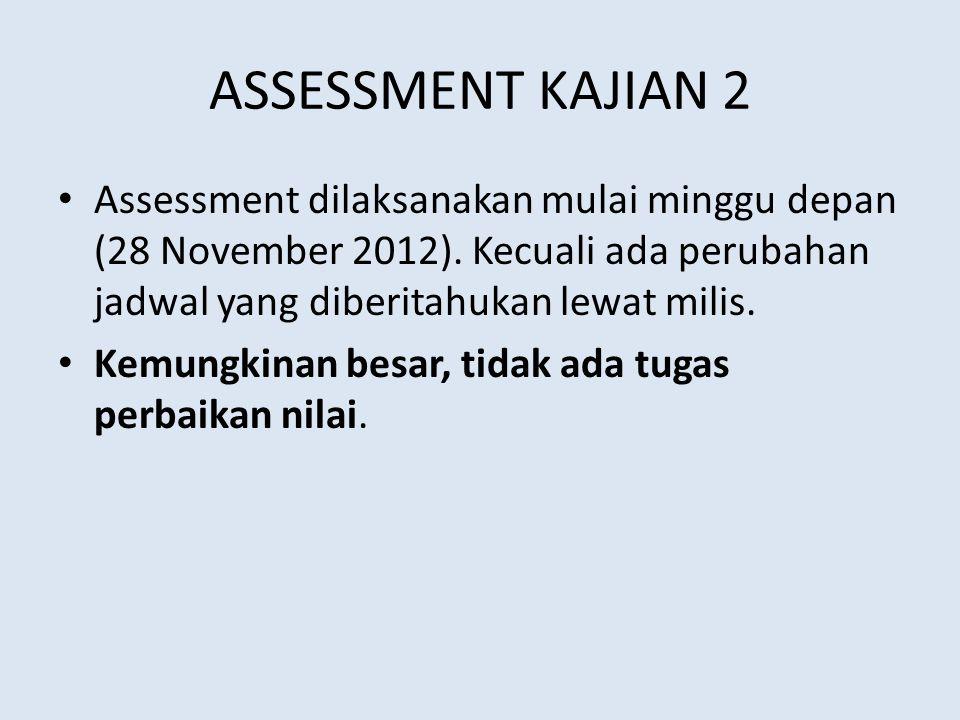 ASSESSMENT KAJIAN 2 Assessment dilaksanakan mulai minggu depan (28 November 2012). Kecuali ada perubahan jadwal yang diberitahukan lewat milis.
