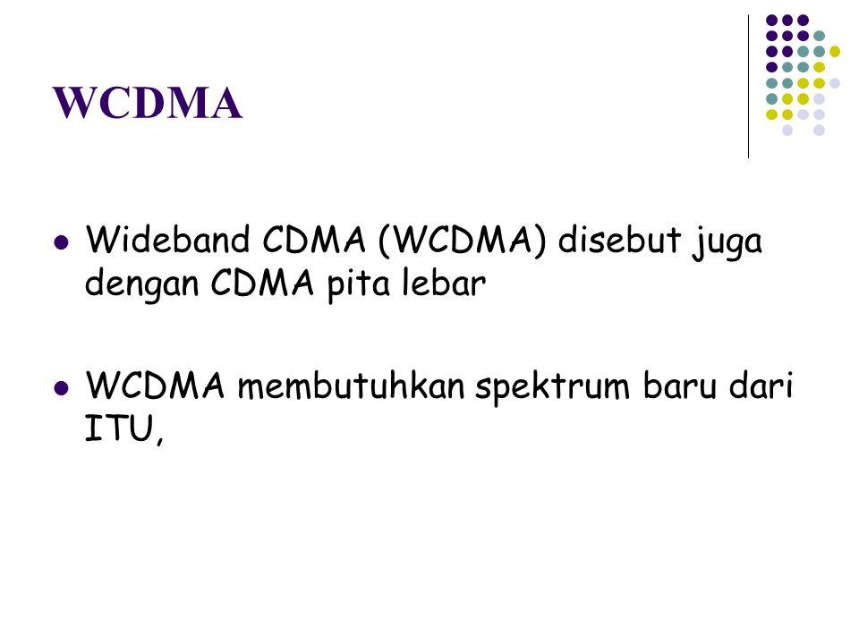WCDMA Wideband CDMA (WCDMA) disebut juga dengan CDMA pita lebar