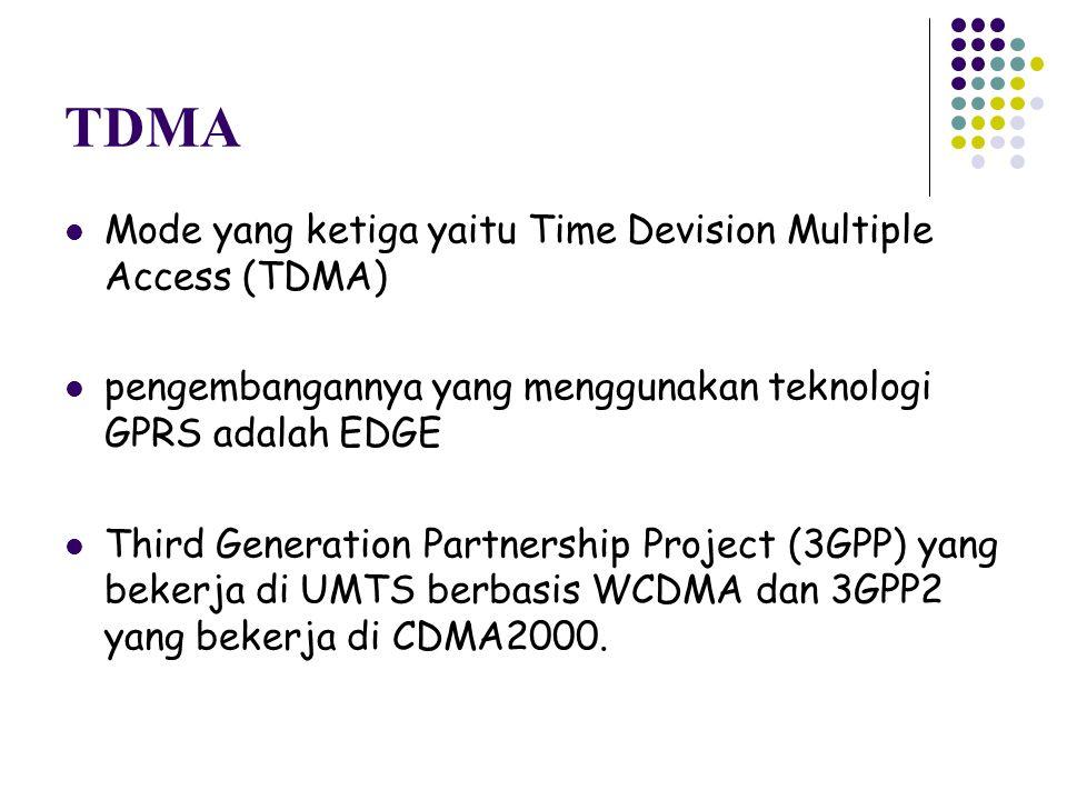 TDMA Mode yang ketiga yaitu Time Devision Multiple Access (TDMA)
