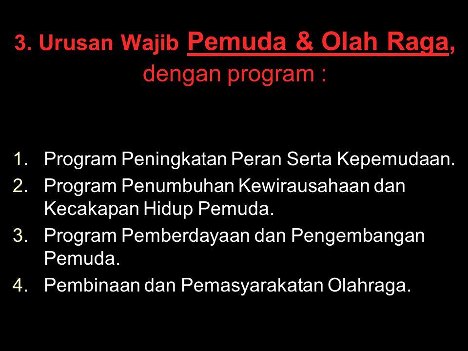 3. Urusan Wajib Pemuda & Olah Raga, dengan program :