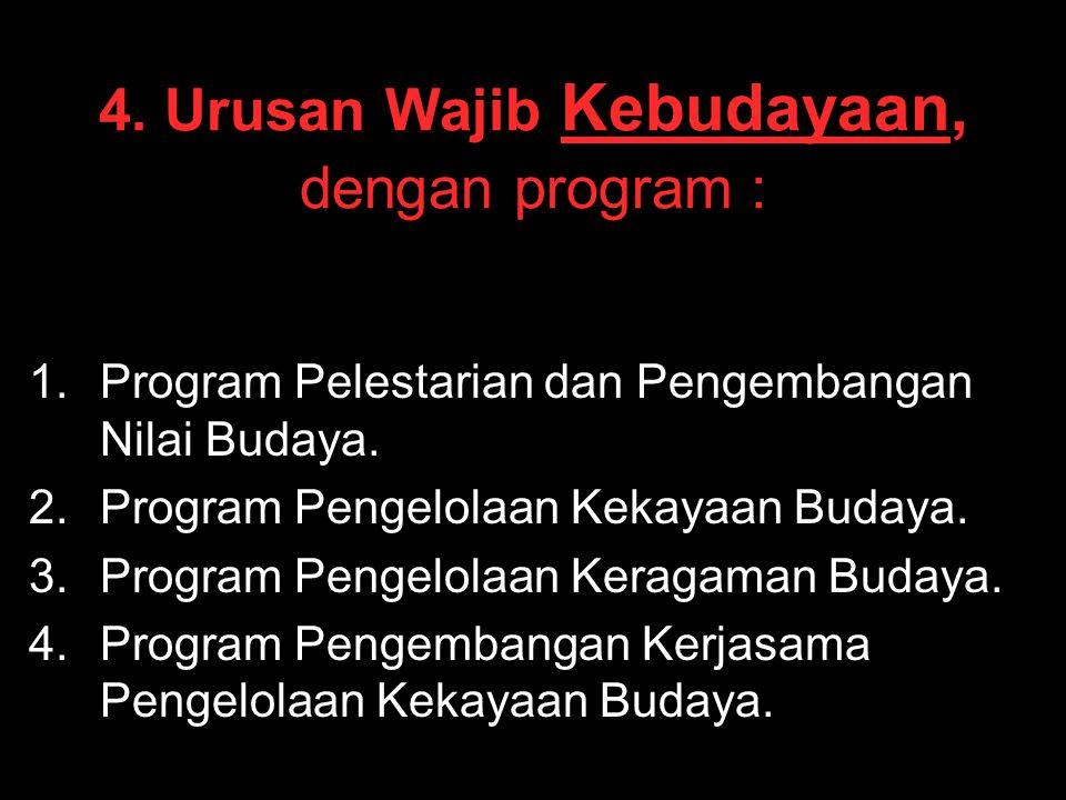 4. Urusan Wajib Kebudayaan, dengan program :