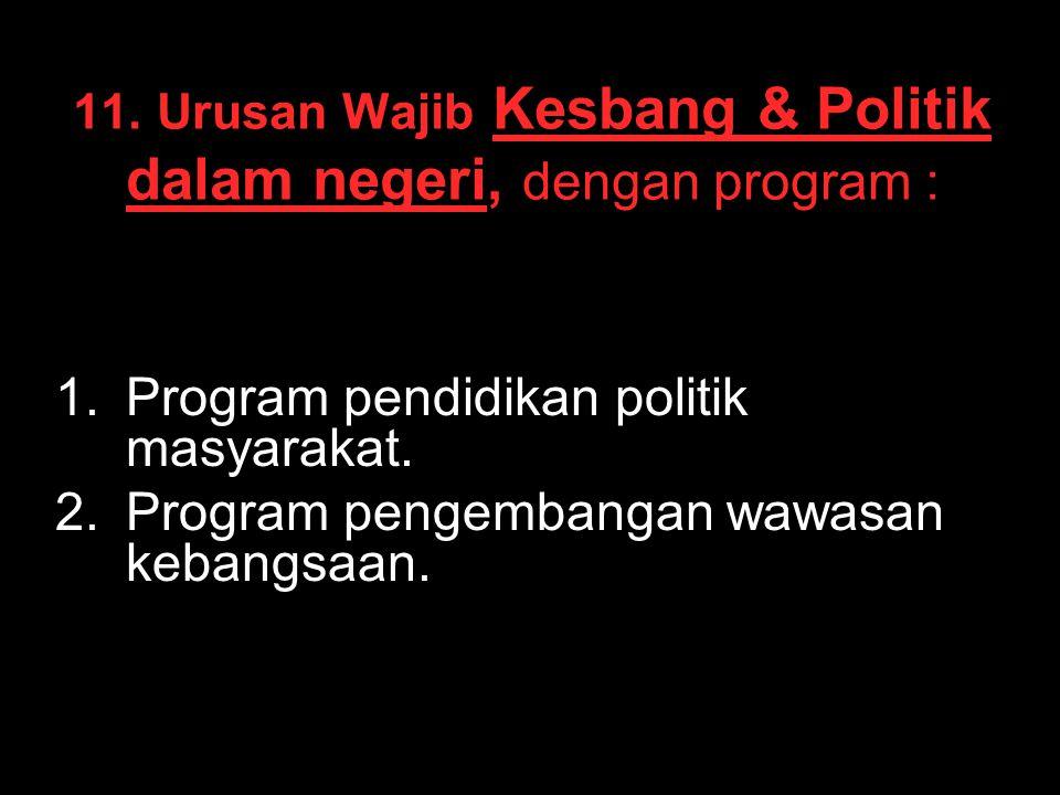 11. Urusan Wajib Kesbang & Politik dalam negeri, dengan program :