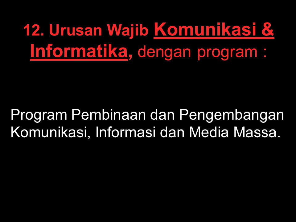12. Urusan Wajib Komunikasi & Informatika, dengan program :
