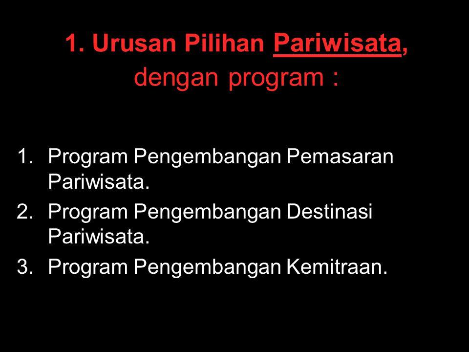 1. Urusan Pilihan Pariwisata, dengan program :