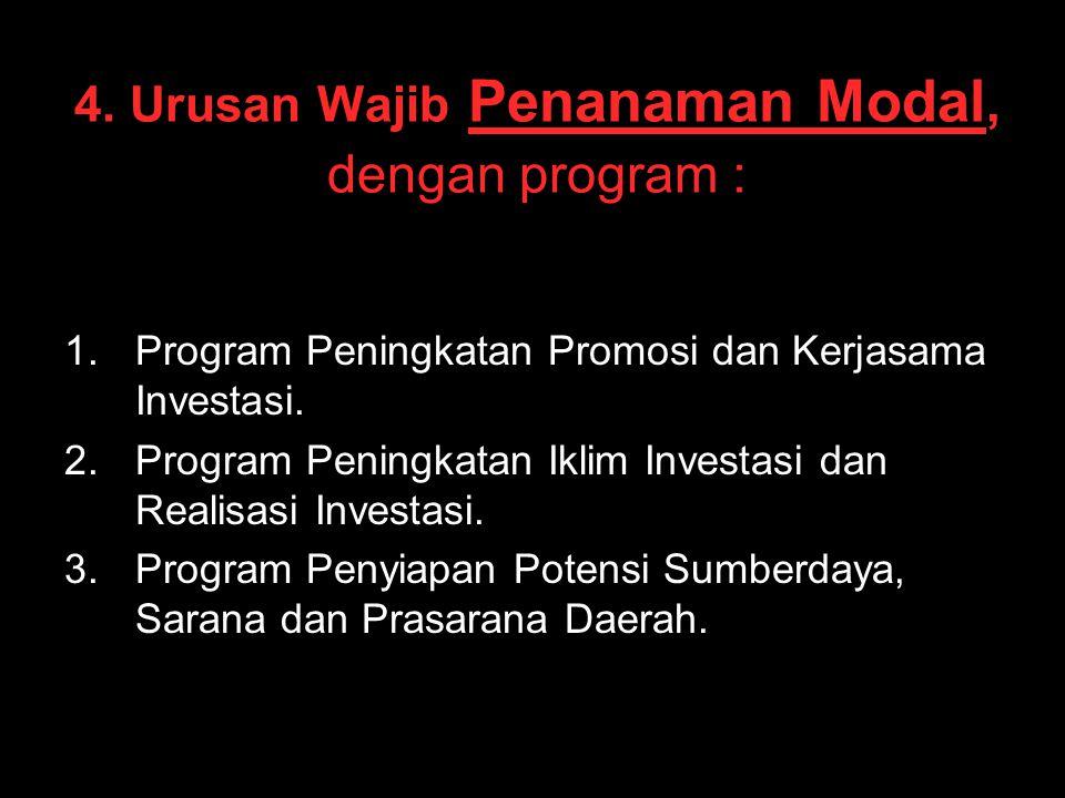 4. Urusan Wajib Penanaman Modal, dengan program :