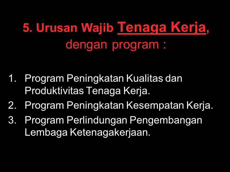5. Urusan Wajib Tenaga Kerja, dengan program :