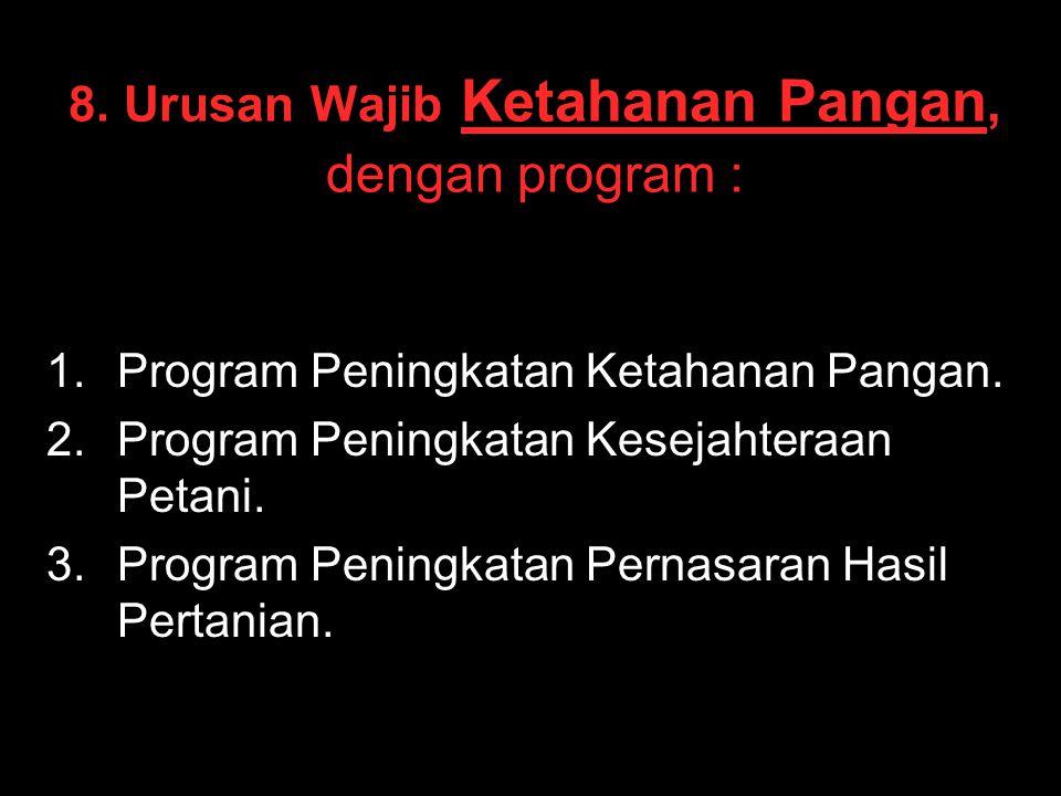 8. Urusan Wajib Ketahanan Pangan, dengan program :