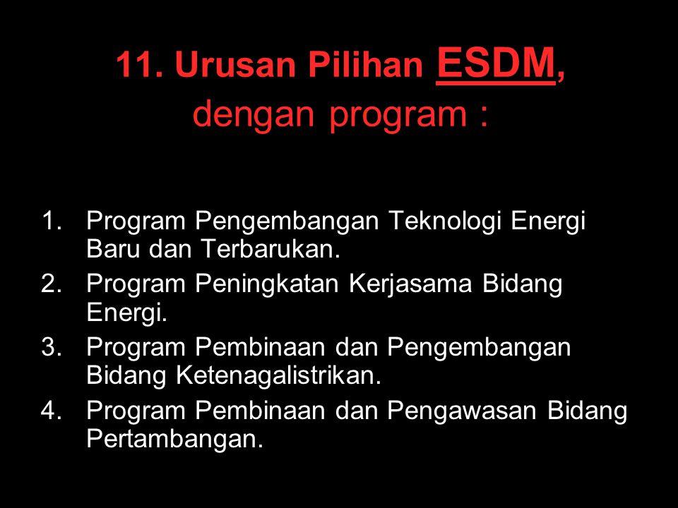 11. Urusan Pilihan ESDM, dengan program :